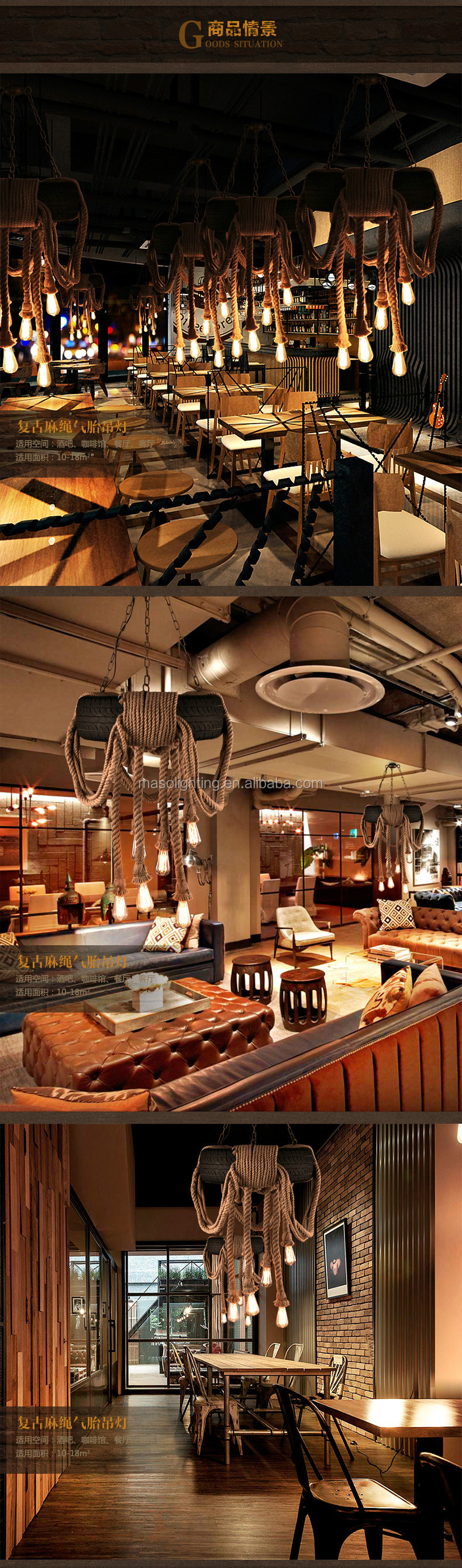 Rubber Loft Industrial Garage Tire shaped Chandelier Pendant Light Restaurant Bar American Style Retro Hemp Rope light Fixture