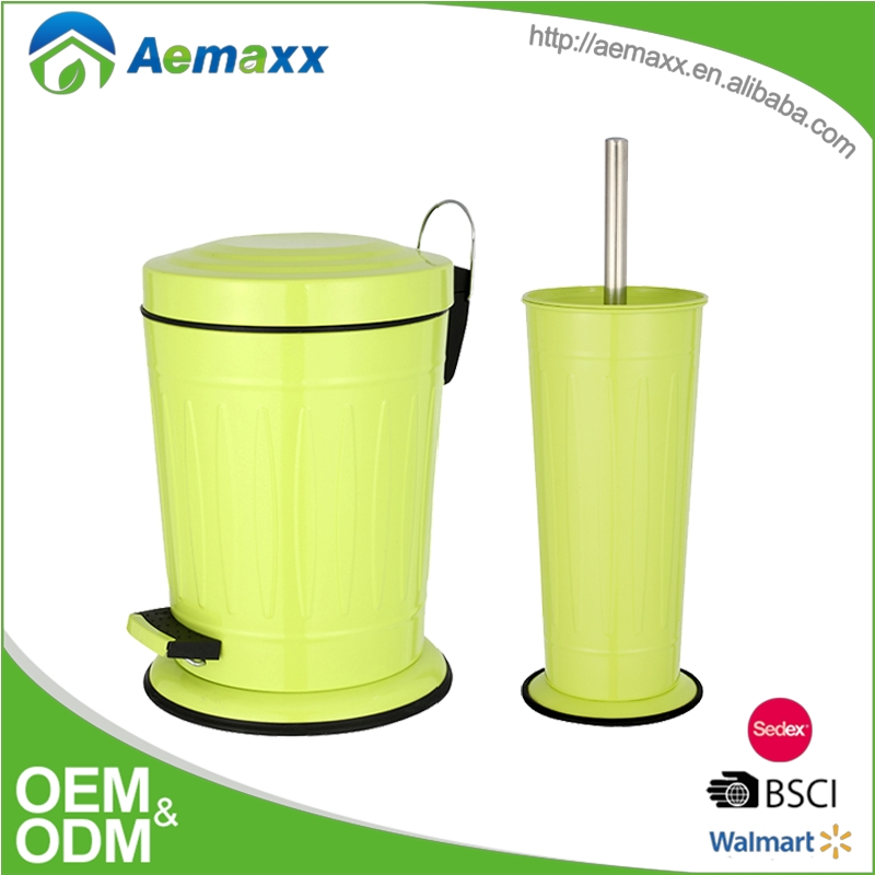 Special square stainless steel fresh green bathroom set pedal bin and toilet brush