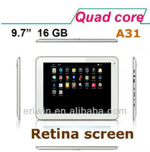 ZX-MD9708 2013 Newest high quality 9.7 Inch Allwinner A31 Quad Core android tablet pc