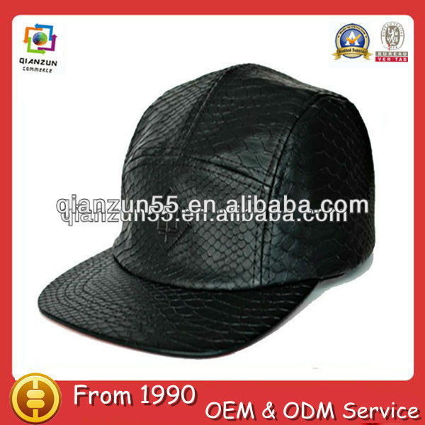 5 pieces hats black crocodile snake skin leather 5 panel hats black leather fitted hat
