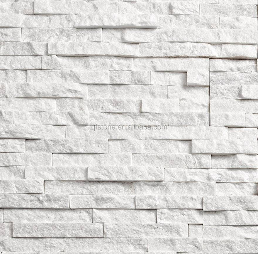 quartzite stacked stone veneer wall panel super white stone face brick