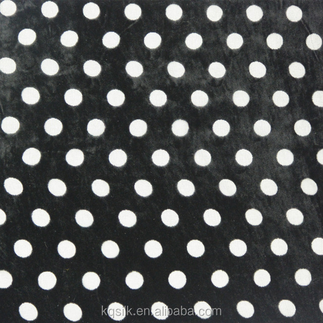 Plain/solid burnout silk rayon velvet fabric with polka dots pattern