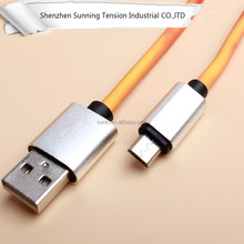 Hot products leather charging cable color change micro usb cable for iphone mobile phone