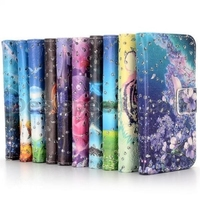 Glitter Powder Wallet Style Flip Stand PC+PU Leather Cases for iPhone 5C
