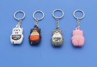 2015 lovely PVC cat design key chains/silicon rubber key ring for sale