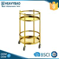 Stainless Steel Knocked-down Trolley Bar Tea Wine Casters Cart Wheels