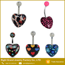 Heart Shaped Belly Ring Navel Piercing Ring Navel Piercing Channel