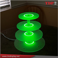 Manufacturer 4 Tier Lighted Round Acrylic Cake Cupcake Stand with Color Changing RGB LED