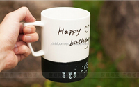 creative hot-selling fashion starbuck black and white meaage promotional gift ceramic office mug with lid spoon and wiring pen