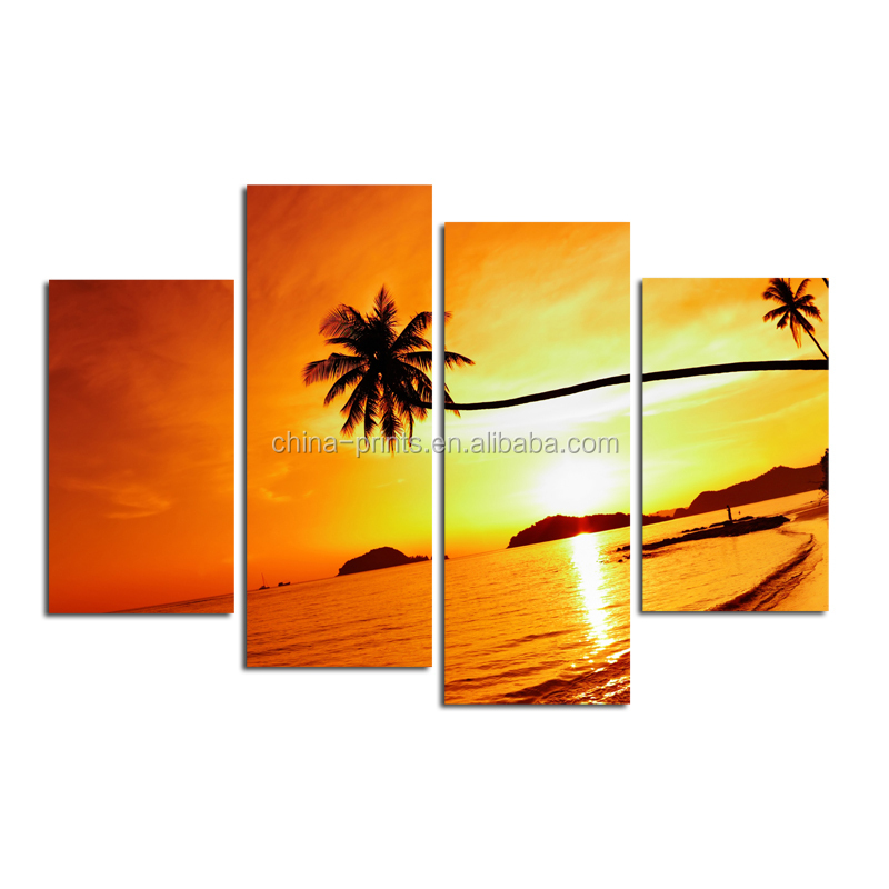 Multi Panel Landscape Canvas/Group Sunset High Quality Painting/Seascape Stretched Canvas Printing