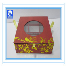 Square Candy Cardboard Paper Gift Box with PVC Window and 9 Dividers Hot Stamping Design