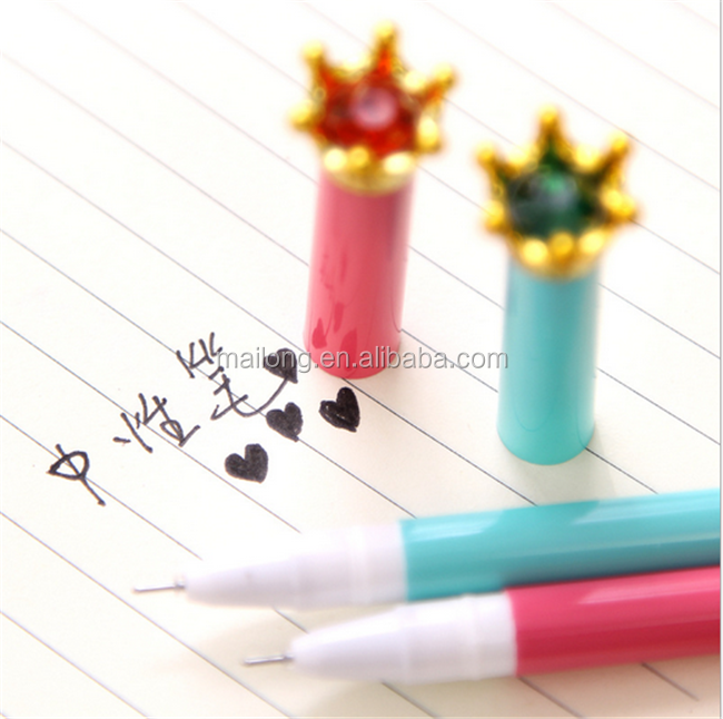 0.5mm Cute Kawaii Creative Crown Plastic Gel Pen With Colorful Diamond For Kids Gift Korean Stationery PN6319