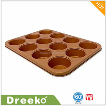"13.77"" L x 10.47"" W Nonstick Muffin Pan Copper Ceramic Coating Baking Pan"