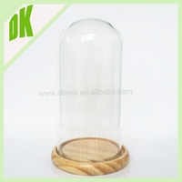 3 lid:metal lids Vintage Glass Cloche w/ Wood Base - Bell Jar Handled Lid Display Dome / candle large glass jar with glass lid