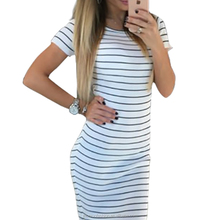 monrooNew Women Black & White Striped Midi Dress Casual All-match Dress Sexy Short Sleeve O-neck Vestido Femal Fashion Sundress