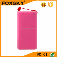 Build in cable lithium polymer 4000mah ultral slim credit card power bank for mobile phone