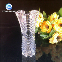clear decorative round glass vase for home
