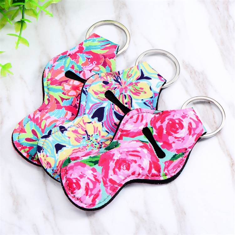 Lily Pulitzer Sublimation Printed Neoprene Chapstick Holder Lip Balm Cover Keychain Holder