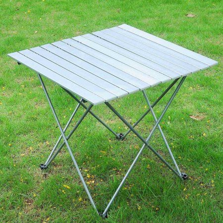 "27""L x 26-1/2""W Portable Aluminum Roll Up Folding Table Camping Picnic Outdoor Garden Camping Desk"
