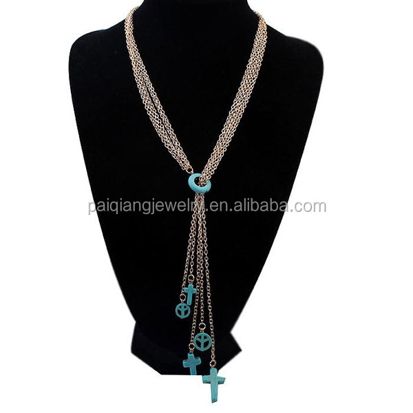 2016 latest long chain charms necklace, green resin pendant chain necklace jewely