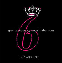 Birthday number 6 Rhinestone Heat Transfer helmet design wholesale
