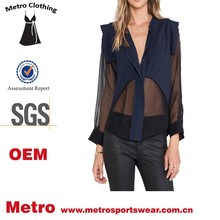 stylish ladies elegant blouse western navy silk blouse