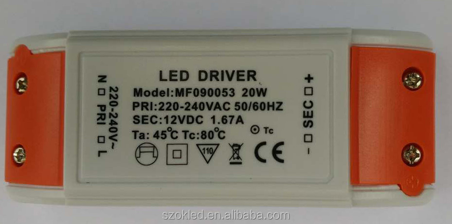 Constant Voltage 12V 6W/12W/15W/18W/20W/30W/50W/60W/80W Plastic Case LED Driver with laser print label