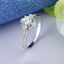 Fashion White Gold Plated Metal Ring Big Stone Couple Wedding Ring