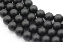 2.0mm Large Hole Hot Selling Round Gemstone Loose Beads Matte Black Onyx Beads