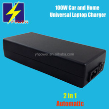 100W 2in1 Automatic Switch Universal Laptop Car Charger with USB 5V/1A 15V-20V for Brand Laptops