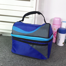 New China style low price customized logo double-decker insulated can lunch cooler bag for picnic