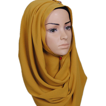 summer plain soild wholesale hijab pearl bubble chiffon scarf