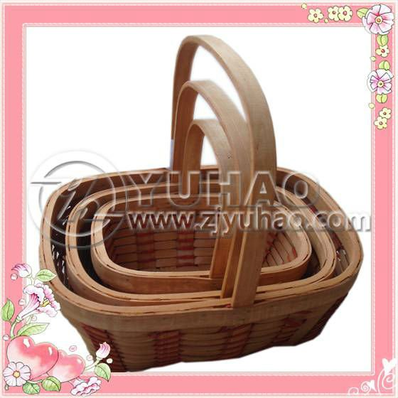 Pure Hand Woven Cheap Wooden Chip Gift Baskets