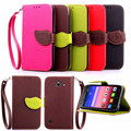 Case for Huawei Y550, Hot Selling High Quality PU Leather Flip Cover Wallet Case for Huawei Y550 with Hand Strap