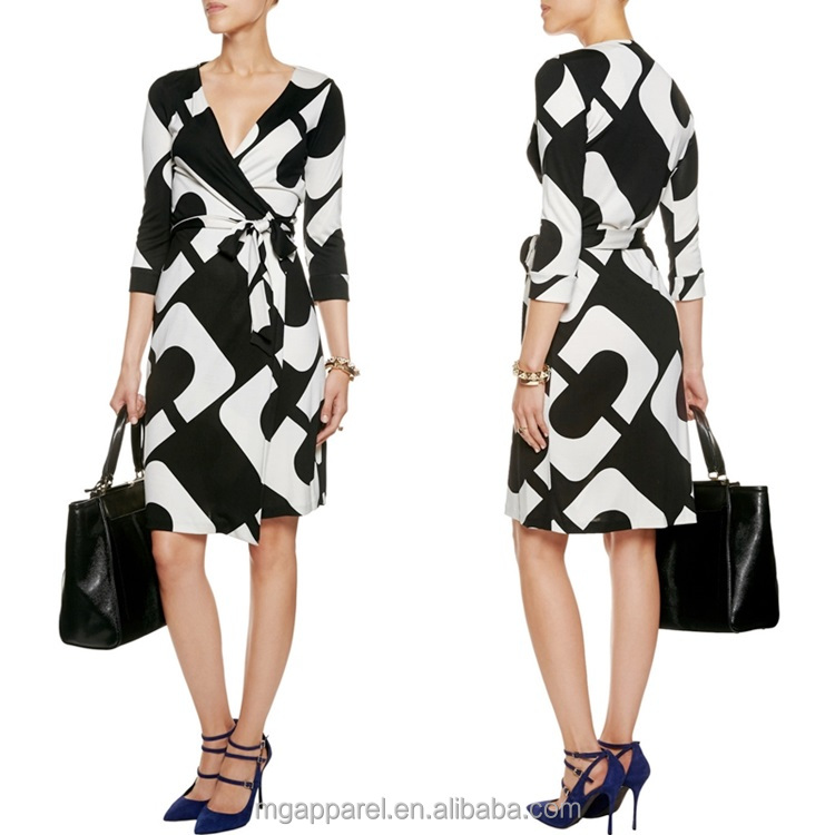 china new fashion black and white long sleeve printed silk jersey wrap dress