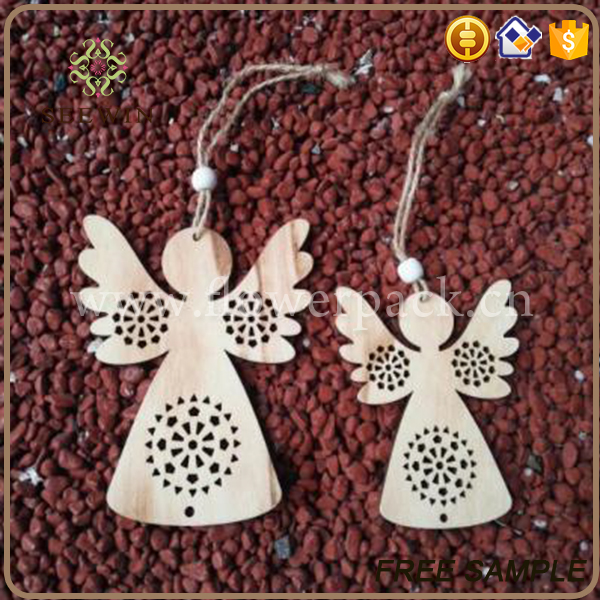 holiday decoration christmas angels shape wooden craft