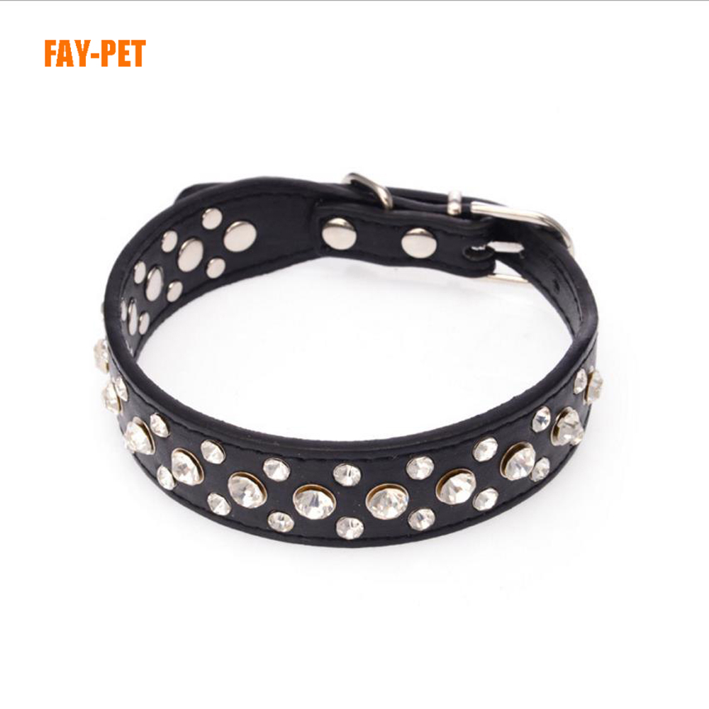 Yiwu pet products tpu dog collar,8 color 3 row rhinestone dog collar