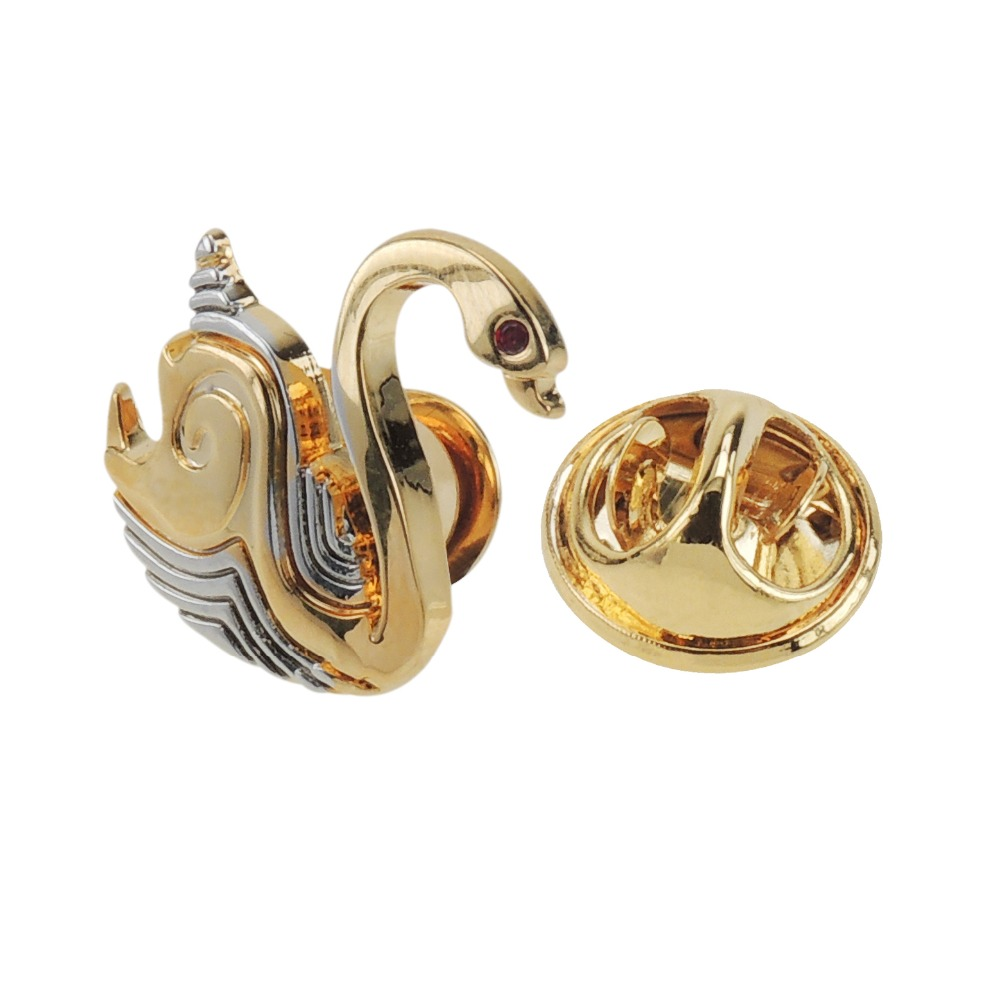 Mens accessories gold swan lapel pin mens