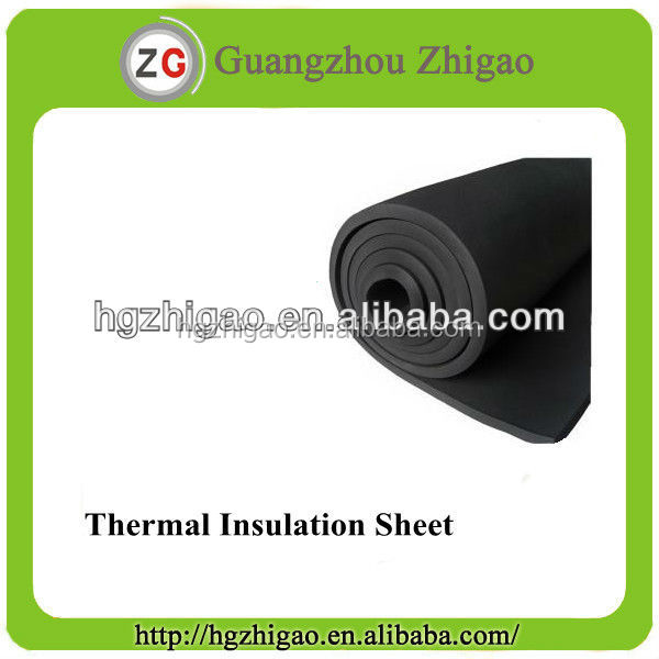 Flexible foam rubber insulation sheet with stick or without stick