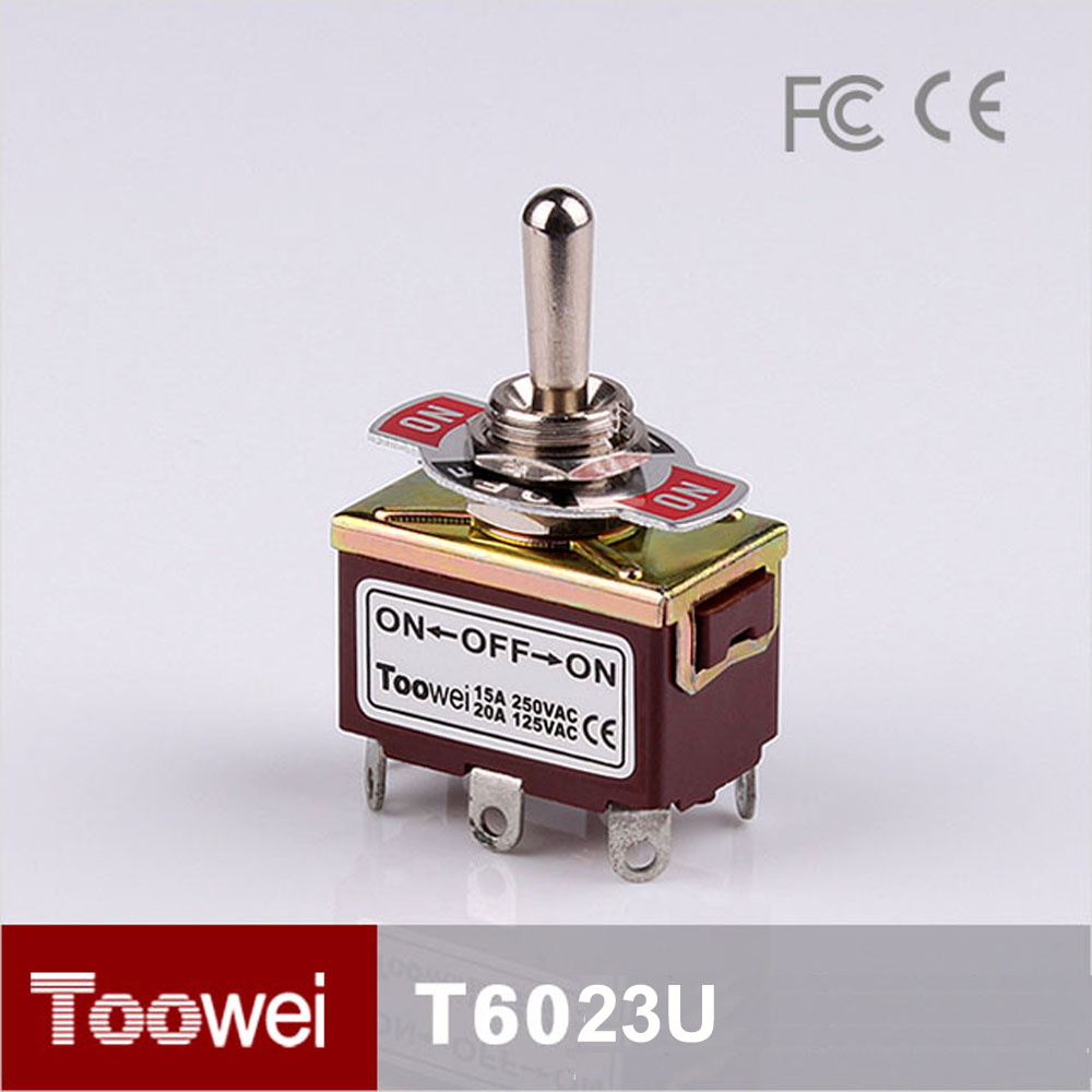 Toowei switch Brown Color 6 pole on off on toggle switch 10A 250VAC /15A 125VAC for motorcycle switch T6023U