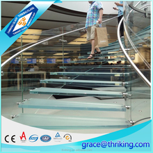 2016 hot sale 12.76mm fine indoor tempered laminated glass stair railings price