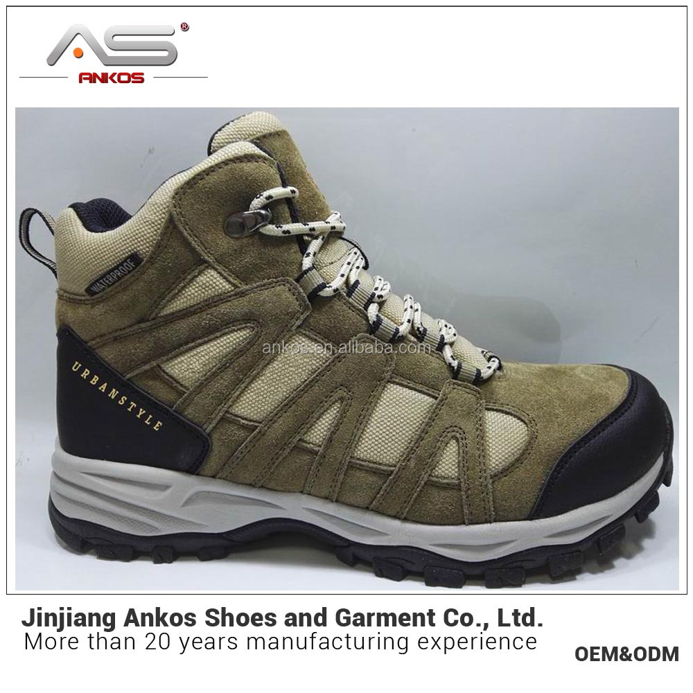 Men Trekking shoe size #39--#46 with genuine leather in waterproof and anti-wear