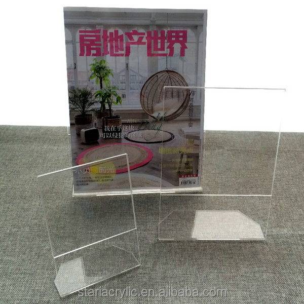 A4 L shaped Acrylic Sign Display Stand, A5 Clear Lucite Slant Back Sign Holders, Angled Ad Frame