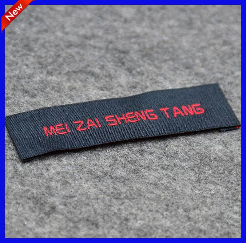 China Cheap Custom Woven Black Neck Tags