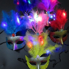 PM-198 Factory wholesale with led glow Feather party mask