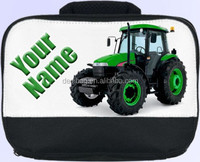 GREEN TRACTOR PERSONALISED SCHOOL/ NURSERY/ WORK LUNCH BOX / SANDWICH BAG -NAMED