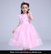 Showlands Beautiful Net frock Designs with Organza Ruffle Sleeve Pink Dresses Model for Kids