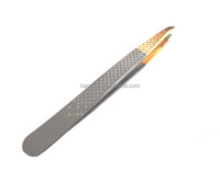 Gold plating and electrophoresis stainless steel good quality slanted tweezer/dots decorating on both sides