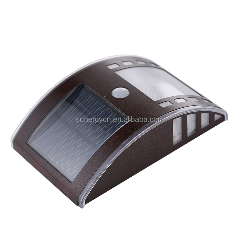 3 LED outdoor wall solar led lights motion sensor solar garden light wall mounted security light