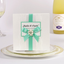 Elegant Mint Green Ribbon Wedding Invitation with Pearl Buckle